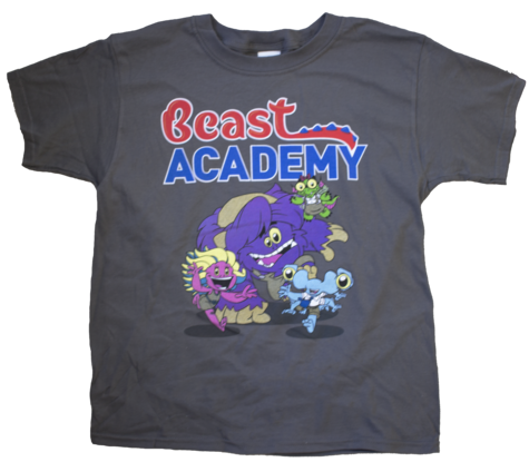 BA Shirt front with Beast Academy logo text and four math beasts