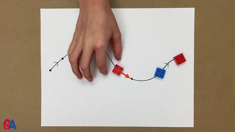 A hand moving a red piece up the line