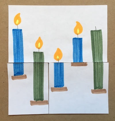Three blue candles and two green