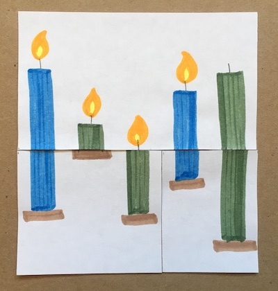 Two blue candles and three green