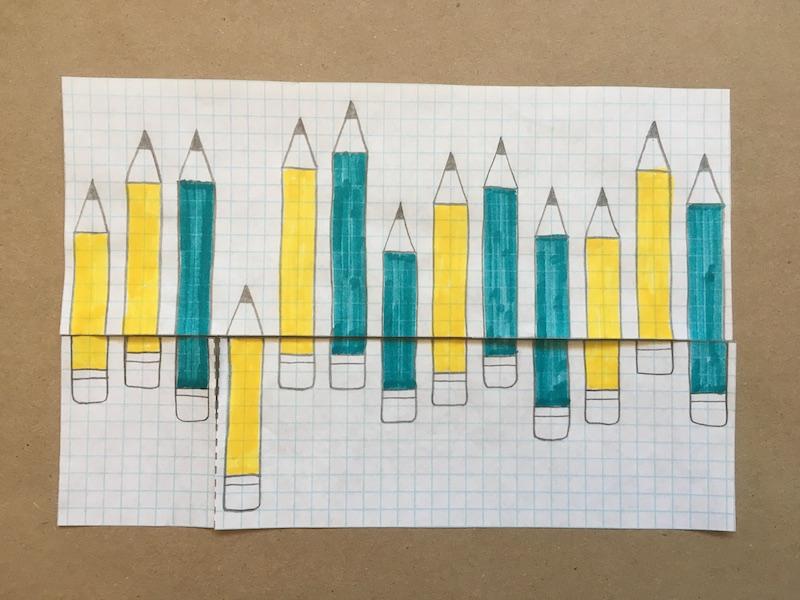 Thirteen pencils drawn on paper