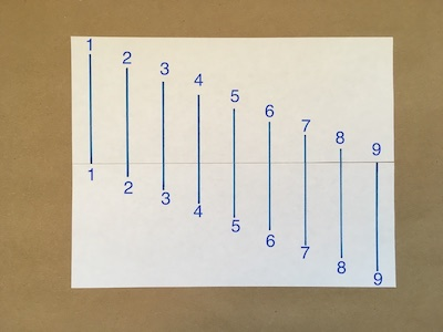 Nine numbered lines drawn on a piece of paper