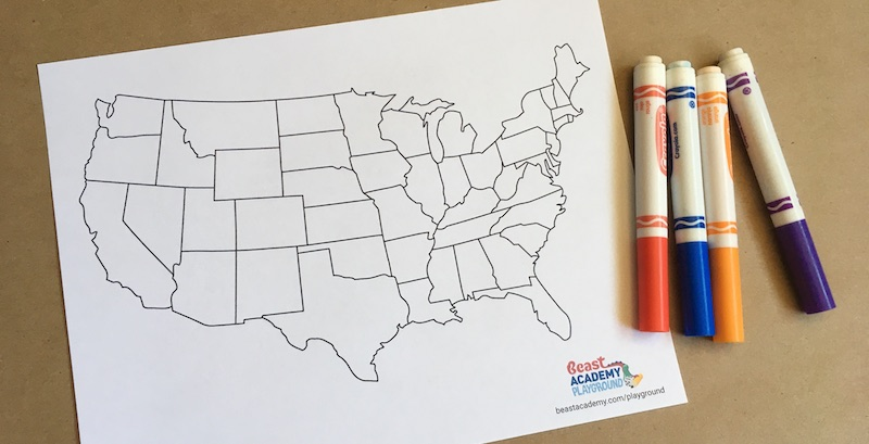 Blank map of USA with markers