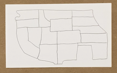 drawing of map on paper