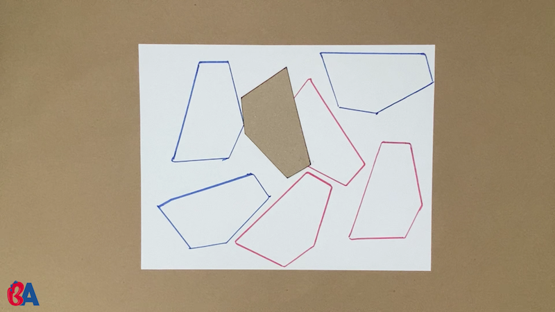 The shape is traced on the piece of paper