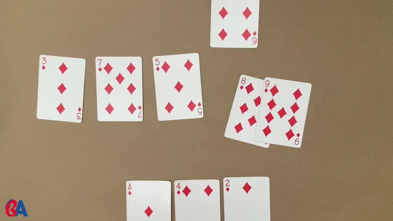 Cards after some have been taken by players