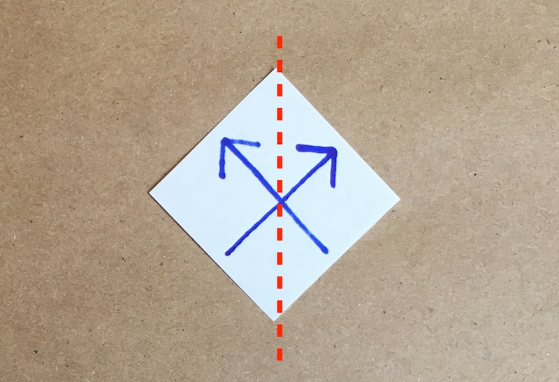 The arrows pointing to the top left and top right, with a vertical dotted line through the center