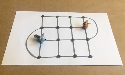 A fox and a hare on a grid