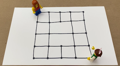 lego figures standing on a grid drawn on paper