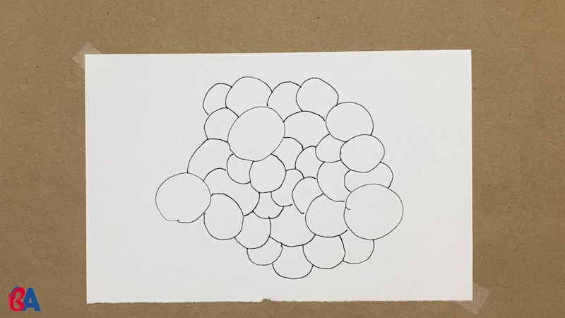 A bunch of circles touching each other
