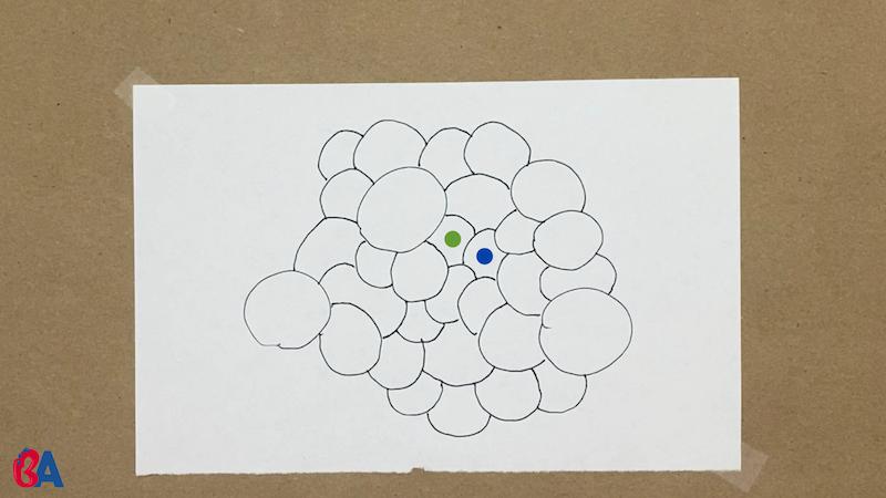 A green dot and a blue dot on circles