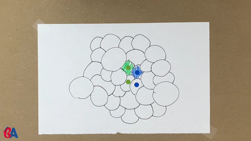 Bunch of circles with some colored in green and blue