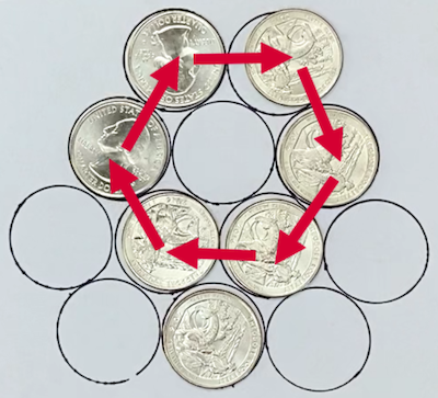 A hexagon of coins
