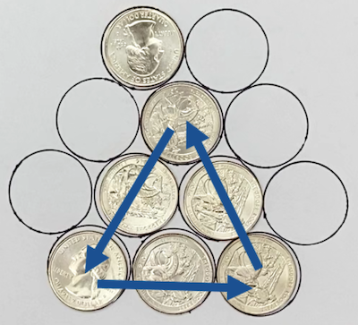 A triangle of coins