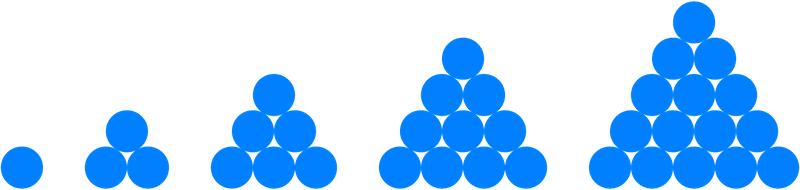 The first five triangular numbers