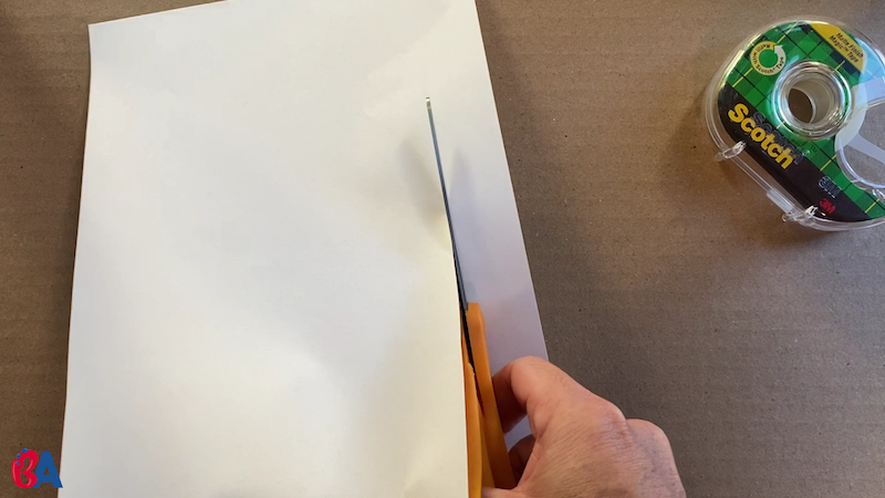 Strip being cut from a piece of paper