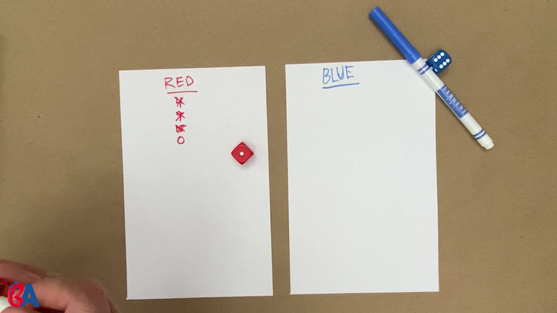Two pieces of paper with names written at the top in red and blue. Red has numbers crossed off and then a zero.