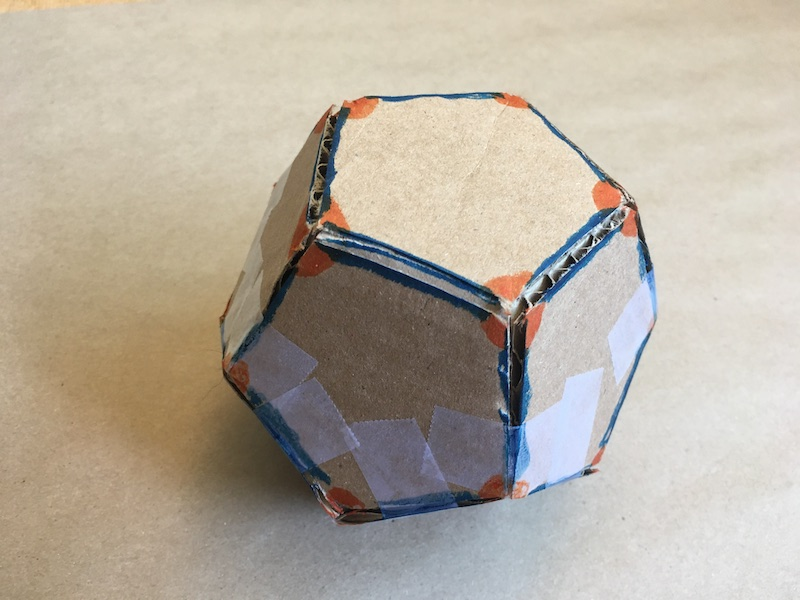 Dodecahedron with edges colored blue and vertices colored orange