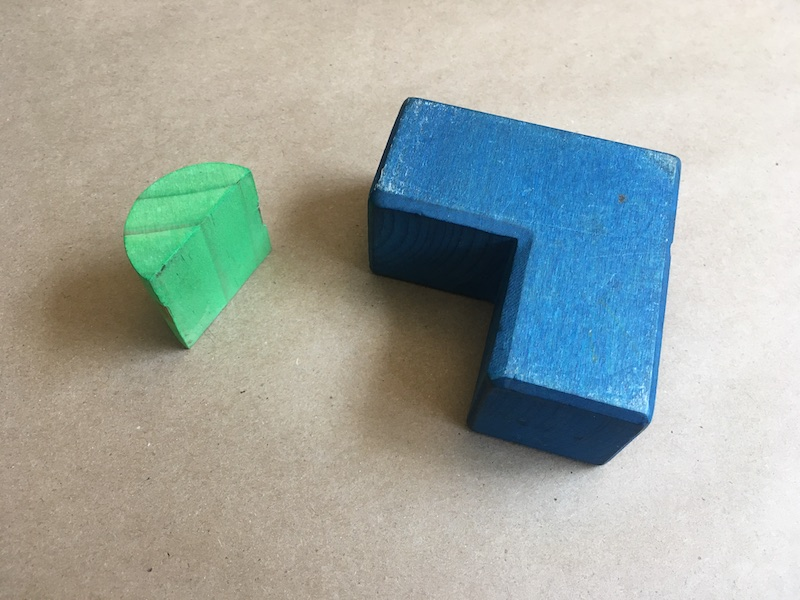 Green block and blue block