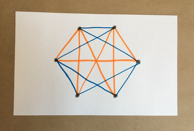 Six dots connected with two colors of lines
