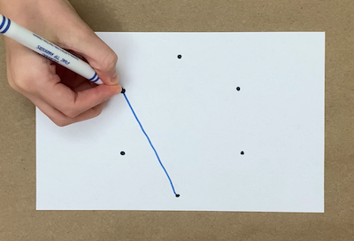 A blue line connecting dots