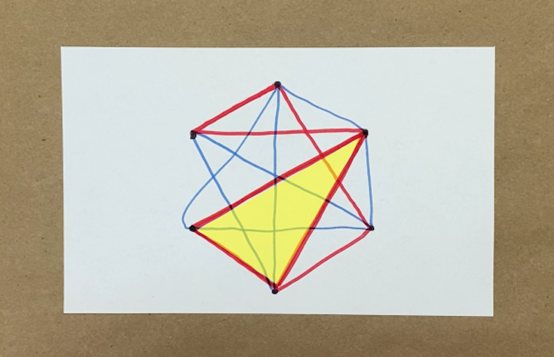 A triangle with all sides red