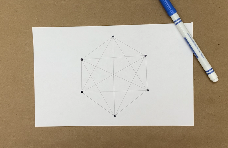 Six dots drawn on a piece of paper with pencil lines connecting them