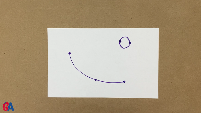 3 dots on a paper with some connected