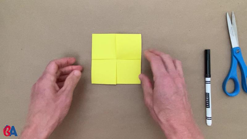 Square flexagon folded like a pinwheel