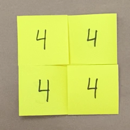 Square flexagon with numbers written on the faces
