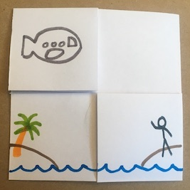 Flexagon with airplane and person on island
