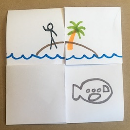 Flexagon with submarine and person on island