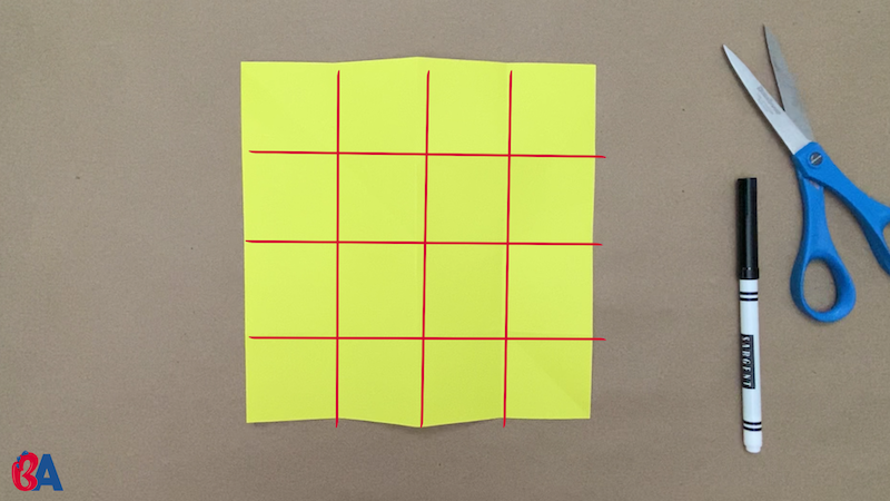 Square of paper divided into sixteen smaller squares