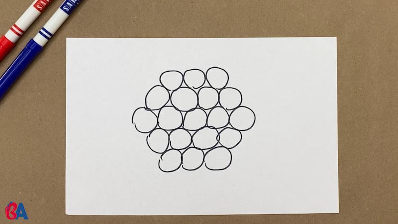 19 circles arranged in a hexagon