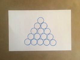 15 circles arranged in a triangle